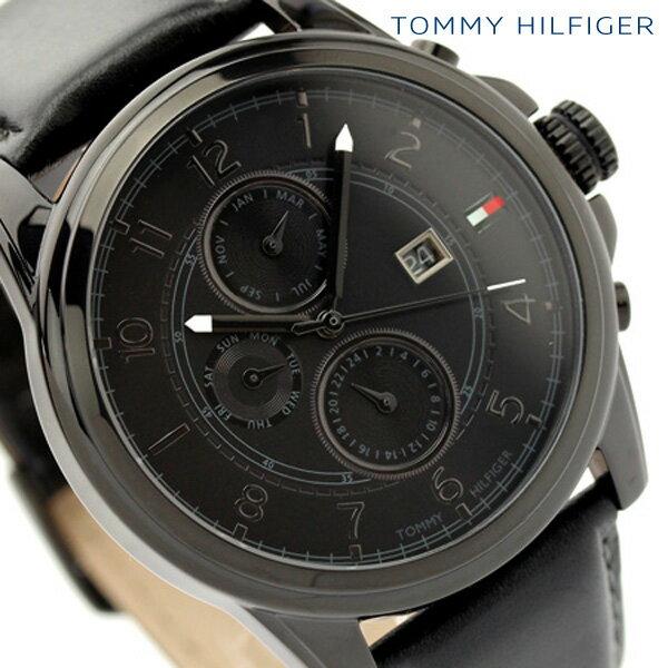 【今ならポイント5倍!20日20時〜21日12時59分まで】 トミー ヒルフィガー TOMMY HILFIGER メンズ 腕時計 オールブラック レザーベルト 1710295【あす楽対応】