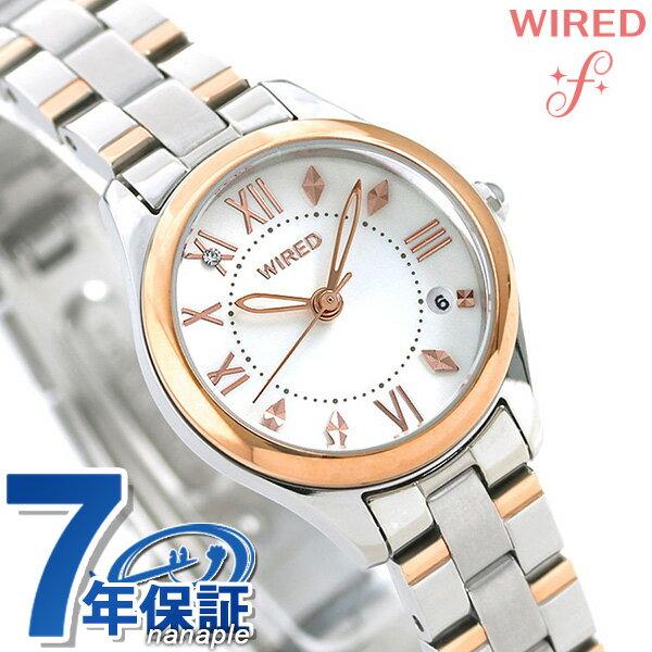セイコー ワイアード エフ ペアスタイル レディース 腕時計 AGEK422 SEIKO WIRED f ホワイト×ピンクゴールド 時計【あす楽対応】