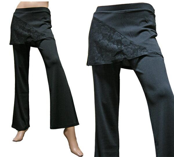 ダンスウェア スカート付きストレッチパンツ 美脚ブーツカットパンツ スカッツ ONSA*パーティー・衣装・フォーマル・ヨガ・エクサイズ・スポーツ・ゴルフ・等に