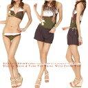 体型カバー水着 レディース タンキニ ビキニ 体型カバー 4点 セット ショートパンツ 女の子 可愛い セパレート 30代 4…