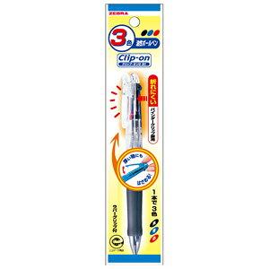 【ゼブラ】ボールペン クリップオンG 3色【PB3A3-C クリア軸】