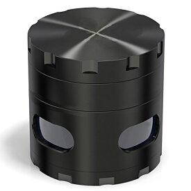 ハーブミル ペッパーミル スパイスミル 煙草グラインダー 4枚 亜鉛合金(ブラック)