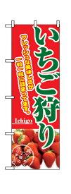 2877 のぼり旗 いちご狩り フレッシュな美味しさが一粒一粒に詰まってます。 赤地(レッド) 緑文字(グリーン) 素材:ポリエステル サイズ:W600mm×H1800mm
