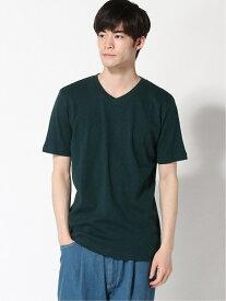 :スラブフライスVネックTシャツSS nano・universe ナノユニバース カットソー Tシャツ グリーン ブラウン ブラック ホワイト[Rakuten Fashion]