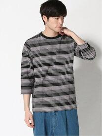 【SALE/70%OFF】:ジャガードボーダークルーネックシャツ6S nano・universe ナノユニバース カットソー Tシャツ グレー ネイビー ホワイト【RBA_E】[Rakuten Fashion]