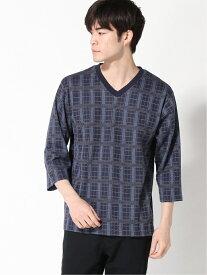 【SALE/60%OFF】:ジャガードチェックVネックTシャツ6S nano・universe ナノユニバース カットソー Vネックカットソー ネイビー ブラック ホワイト【RBA_E】[Rakuten Fashion]