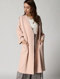 [Rakuten Fashion]:Vネックノーカラーコート/T nano・universe Selected ナノユニバース コート/ジャケット ロングコート ピンク【送料無料】