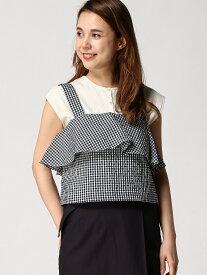 [Rakuten Fashion]【SALE/70%OFF】:ギンガムチェックフロントフレアブラウス/T nano・universe Selected ナノユニバース カットソー キャミソール ネイビー ブラック ベージュ【RBA_E】