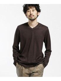 [Rakuten Fashion]<汗染み防止>Anti Soaked ヘビーVネック 長袖 nano・universe ナノユニバース カットソー Tシャツ ブラウン ブラック ホワイト【送料無料】