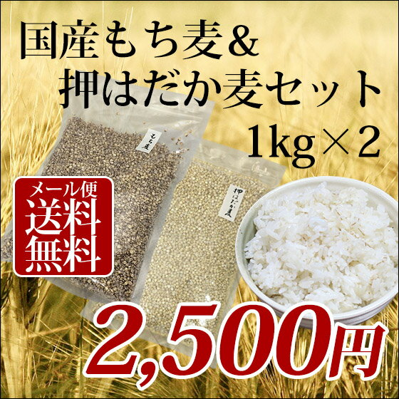 1kg×2個 国産 もち麦&押はだか麦 大麦 食べ比べセット 100%【メール便送料無料】
