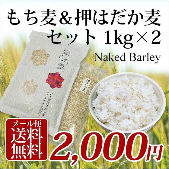 1kg×2個 国産 もち麦&押はだか麦 大麦 食べ比べセット 100%【送料無料】