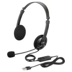 バッファロー BSHSUH12BK 両耳ヘッドバンド式ヘッドセット USB接続 ブラック 目安在庫=○