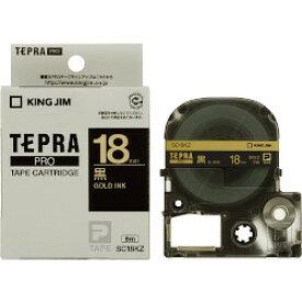 キングジム PROテープ カラーラベル 18mm 黒/金文字 SC18KZ 目安在庫=○