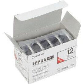 キングジム テプラPROテープ エコパックロング 白/黒文字 12mm SS12KL-5P 目安在庫=△
