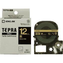 キングジム PROテープ カラーラベル 12mm 黒/金文字 SC12KZ 目安在庫=○