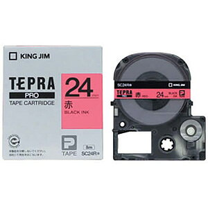 テプラ PRO用テープカートリッジ カラーラベル パステル 赤 SC24R [黒文字 24mm×8m]