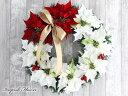 クリスマスリース ポインセチア 玄関 おしゃれ 造花 40cm X'MASリース W-245