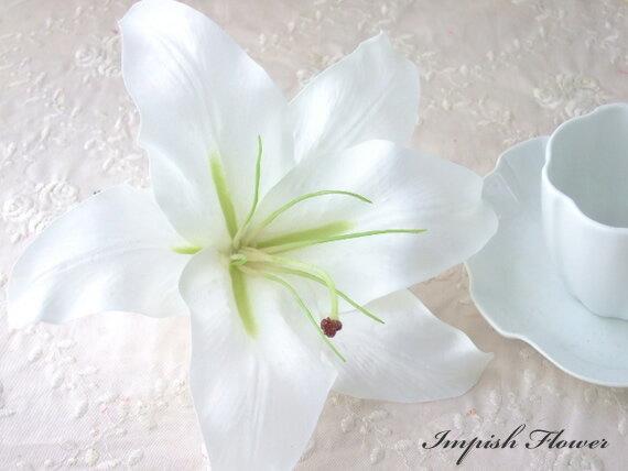 品揃え多数! 高級造花 人気 髪飾り カサブランカ HAC-14 シルクフラワー 造花 ヘッドドレス ヘアアクセサリー ヘアアクセ ヘアピン 結婚式 成人式