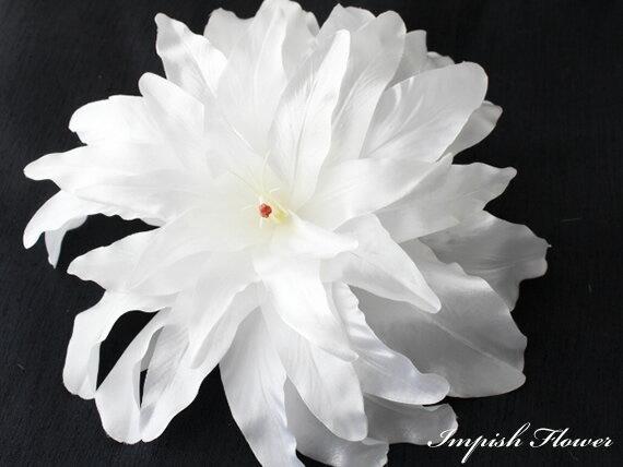 品揃え多数! 高級造花 人気 特大 髪飾り カサブランカ HAC-39 シルクフラワー 造花 ヘッドドレス ヘアアクセサリー ヘアアクセ ヘアピン 結婚式 成人式