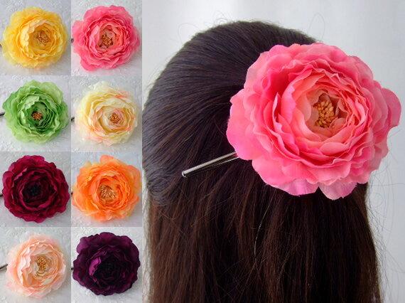 品揃え多数! ヘアクリップ ダッカール ラナンキュラス HACP-03 シルクフラワー 造花 髪飾り ヘアアクセ くちばしクリップ ヘアアクセサリー ヘアピン 髪留め コサージュ 花