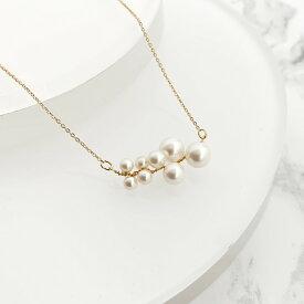 レディース ネックレス パール ホワイト シンプル かわいい ゴールド ギフト naotjewelry Wire Pearl Necklace