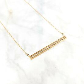 レディース ネックレス 金属アレルギー シンプル ジルコニア ステンレス ゴールド ギフト プレゼント naotjewelry Stainless CZ Bar Necklace