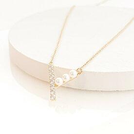 新作 ギフト レディース ネックレス シンプル キュービックジルコニア パール ゴールド プレゼント naotjewelry CZ&Pearl V Necklace