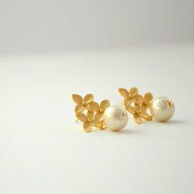 レディース コットンパール ピアス ゴールド 華奢 シンプル naotjewelry Flower Cotton Pearl Pierce
