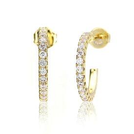 レディース ピアス 18k フープ 樹脂 ノンホールピアス シンプル かわいい ジルコニア ゴールド シルバー ギフト プレゼント naotjewelry Zirconia Hoop Pierce