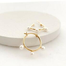 新作 レディース ピアス ノンホールピアス イヤリング フープ パール ゴールド ギフト プレゼント naotjewelry Pearl Hoop Pierces