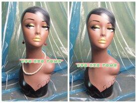 【送料無料】超美人 F レトロヘッドマネキン ヘッドトルソー 手描き 帽子置き ウィッグ置き メガネ置き 美人顔 美人 顔立ち 置物 インテリア 上品 素敵 ディスプレイ ブラック 黒 美人