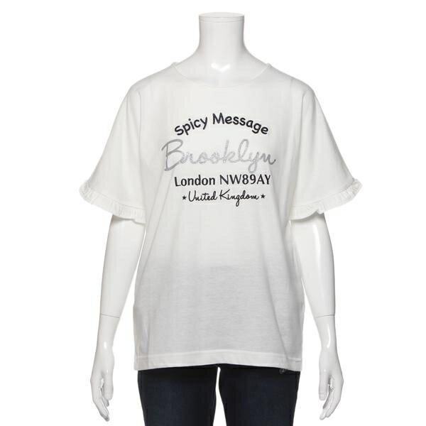 ブルークロスガールズ(BLUE CROSS girls)ロゴ入りフレアカシュクール袖Tシャツ