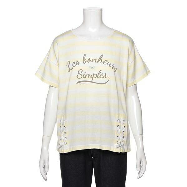 ポンポネットジュニア(pom ponette junior)サイドレースアップボーダーTシャツ