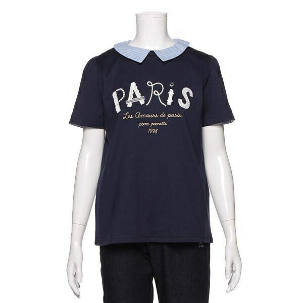 ポンポネットジュニア(pom ponette junior)衿つきPARISロゴTシャツ