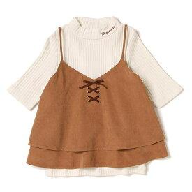 ポンポネットジュニア(pom ponette junior)【キッズサイズ向け】フェイクスエードキャミソール×ハイネックTシャツセット