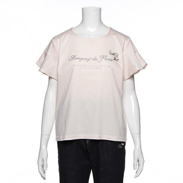 ポンポネットジュニア(pom ponette junior)【トドラーサイズ向け】袖ビジューロゴ刺しゅう入りTシャツ