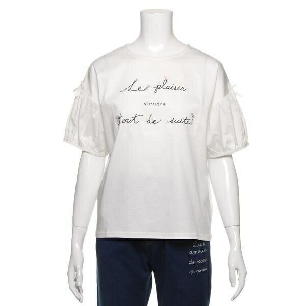 ポンポネットジュニア(pom ponette junior)ロゴ刺しゅう入りボリューム袖Tシャツ