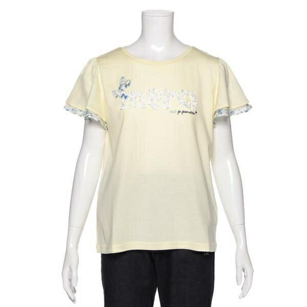 ポンポネットジュニア(pom ponette junior)リボンつきフリルロゴフレア袖Tシャツ