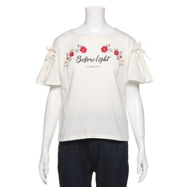 リンジィ(Lindsay)お花刺しゅう&ロゴ入り袖スリットリボンつきTシャツ