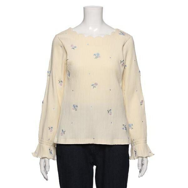 リンジィ(Lindsay)花柄刺しゅう入りテレコTシャツ