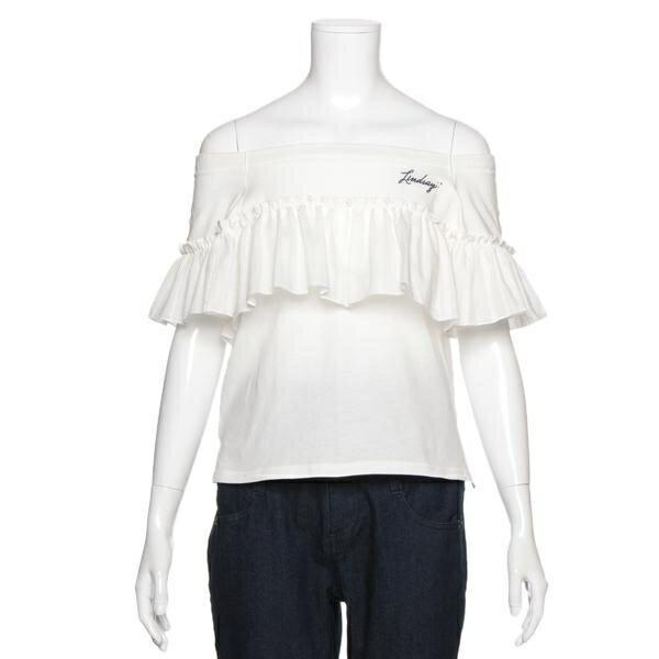 リンジィ(Lindsay)オフショルダーフリルつきTシャツ