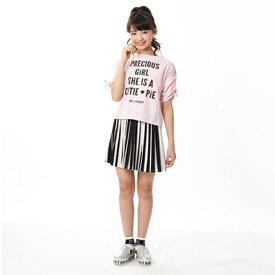 バイ ラビット(by LOVEiT)袖シャーリングロゴ入りTシャツ