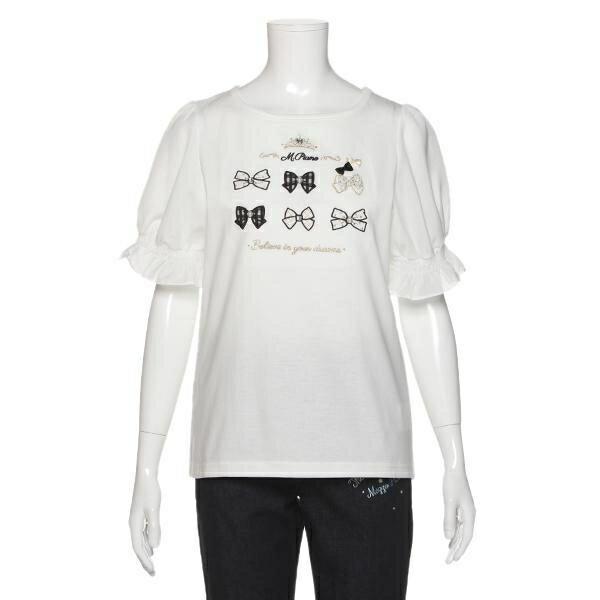 メゾピアノジュニア(mezzo piano junior)バックリボンつきパフスリーブTシャツ