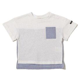 プティマイン(petit main)ポケットつき切り替えボーダーTシャツ