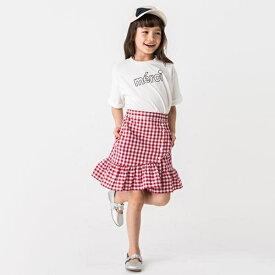 c95c2033a7fb2 プティマイン(petit main)裾フリル切り替えギンガムチェック柄スカート