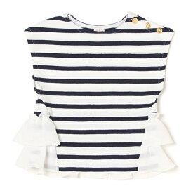プティマイン(petit main)裾フリルつきノースリーブTシャツ