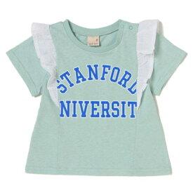 プティマイン(petit main)カレッジロゴ入りフリルつきTシャツ