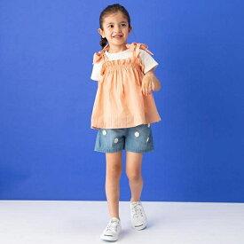 プティマイン(petit main)肩リボンチュニック×クルーネックTシャツ