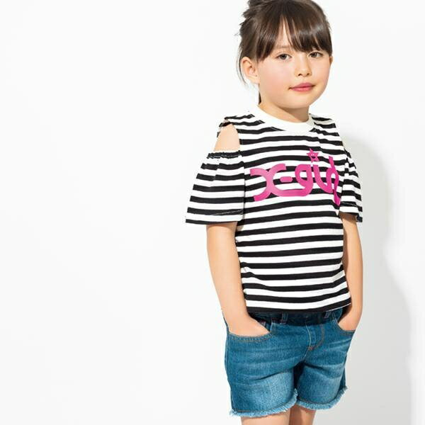 エックスガール ステージス(X-girl Stages)ロゴ入り肩開きボーダー柄Tシャツ