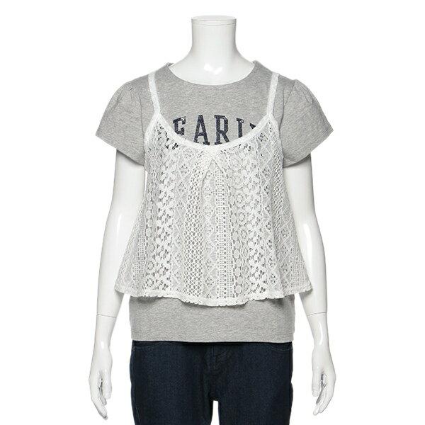 リンジィ(Lindsay)カレッジロゴTシャツ×レースキャミソールセット